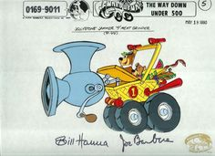 """Hand-painted original production cel model sheet with Yogi Bear and Boo-Boo is from the Production, """"Fender Bender 500,"""" made by Hanna-Barbera Productions in the 1990s. The hand-painted cel is signed by William Hanna and Joe Barbera. #Yogi"""