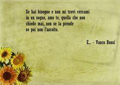 Frasi d'amore e una bellissima della canzone di Vasco Rossi - E..., foglio vintage decorato con girasoli