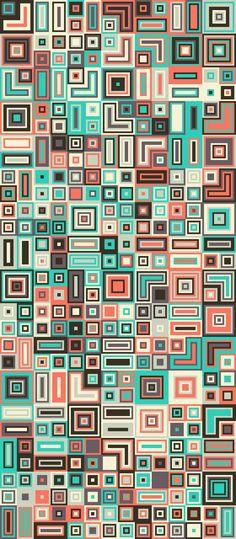 Russfussuk Aztec Block Pattern S5A #pattern #patterndesign #patternprint #geometric #aztec #squares