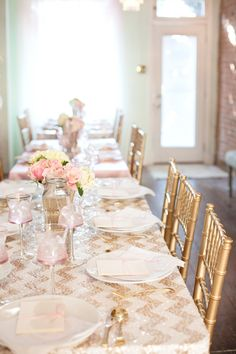 Chic gold chevron tables with pink accents