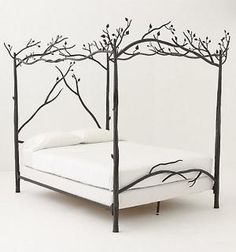Forest canopy bed - Falling asleep has never felt so tranquil. We went directly to our iron workers to have these hand crafted iron Forest Canopy Bed made Dream Bedroom, Home Bedroom, Bedroom Furniture, Home Furniture, Bedroom Decor, Bedrooms, Master Bedroom, Garden Bedroom, Cheap Furniture