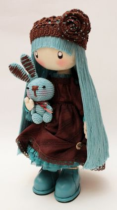 Doll Mimi brown and turquoise Boho.... by DollsLittleAngels