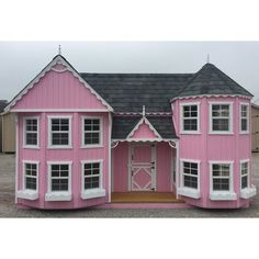 Little Cottage Company Sara's Victorian Mansion DIY Kit Playhouse Size: Luxury Playhouses, Swing Sets For Kids, Playhouse Kits, Backyard Playhouse, Drip Edge, Little Cottages, Gambrel, Cozy Cabin, Kitchen Sets
