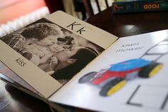 Cute!! Cover pages of an old board books with pics to make personalized ABC book