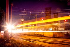 Long exposure image of a MAX train arriving at the Rose Quarter in Portland on September Long Exposure, Creative Photography, Original Image, Portland, September, Fair Grounds, Train, The Originals, Rose