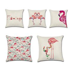 New Flamingo Pattern Cushion Cover Flax Fibre Throw Pillow Cover Cushion Covers Decor Pillow Seat Bed Office Funda Cojin #Affiliate