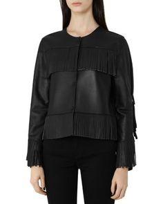 REISS Olivia Bonded-Leather Fringe Jacket   Bloomingdale's