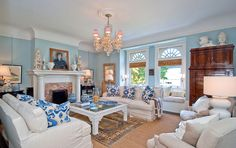 blue walls  and slipcovers