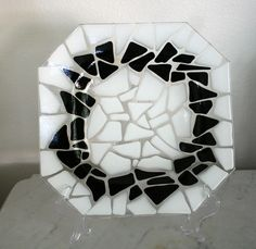 Cobblestone Collection octagon plate or tray in white and black. by Glasspainter1 $55.00, via Etsy.