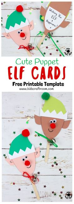 Puppet Elf Christmas Cards are so cute and fun! Theyre really easy to make with the free printable template. These are adorable Elf Christmas Cards and puppet toys in one! A fun Christmas craft for kids to make and play with. Christmas Crafts For Kids To Make, Homemade Christmas Cards, Preschool Christmas, Christmas Elf, Preschool Crafts, Printable Christmas Cards, Arts And Crafts For Adults, Easy Arts And Crafts, Art And Craft Videos