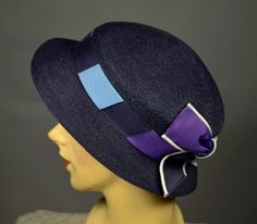 NAVY STRAW 30's VINTAGE HAT - GROSGRAIN BAND & BOW - NRA CODE - LARGE - Available for sale at rpvintage.com