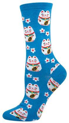 Women's Novelty Crew Socks - Lucky Cat