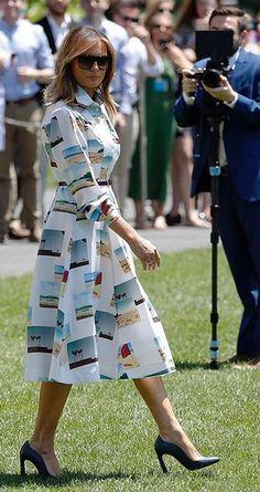 First Lady Melania Trump departs for Japan, Melania Trump Dress, First Lady Melania Trump, Melania Knauss Trump, Kimberly Guilfoyle, Malania Trump, Ivanka Trump, Elegant Woman, Style Inspiration, Fashion Outfits