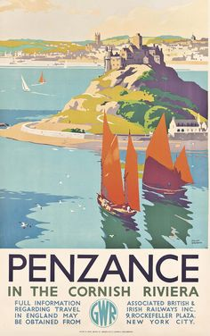 Reprint of a Vintage English Travel Poster to Penzance, Cornwall Posters Uk, Train Posters, Railway Posters, Beach Posters, Travel English, British Travel, Vintage Advertising Posters, Vintage Travel Posters, Vintage Ski