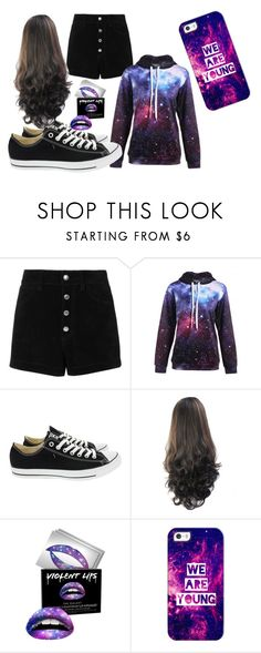 """galaxy/ goth girl"" by melanielov3r ❤ liked on Polyvore featuring rag & bone/JEAN, Converse, Forever 21 and Casetify"
