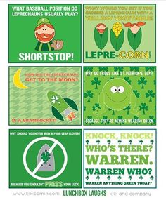 St Patrick's Day themed lunch note jokes