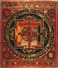 """Early Tibetan Nairatma Mandala. Nairatma, """"She who is without ego"""", appears at the center of this mandala in her two-armed form, holding her characteristic attributes: skullcup, chopper, and ceremonial staff. She dances on a corpse in the center of an eight-petaled lotus bearing a circle of deities: Vajra (E), Gauri (S), Variyogini (W), Vajradakini (N)... The intermediate points of the compass bear skullcups atop vases, said to contain perfumes and nectars..."""