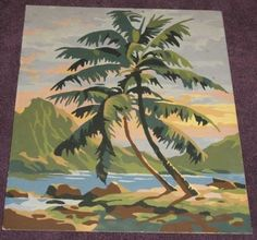 Vintage Tropical Paint by Number Palm Trees Mountain | eBay