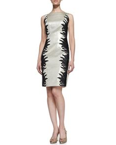 Sleeveless Two-Tone Cocktail Dress, Champagne/Black by Carmen Marc Valvo at Neiman Marcus.