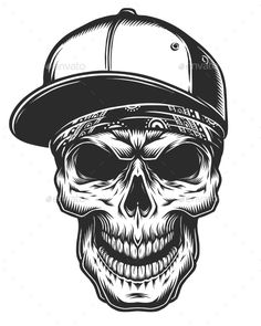 Illustration of Skull in Bandana and Baseball Cap by imogi Illustration of skull in bandana and baseball cap. Monochrome line work. Isolated on white background