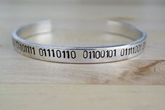 I Love You Hand Stamped Cuff Bracelet  Binary Code  Valentines Day Gift  Gift For Her  Girlfriend Gift  Gift for Wife  Geek Jewelry  Binary Jewelry  Binary * You can get additional details at the image link.Note:It is affiliate link to Amazon.