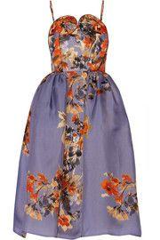 DELPOZOFloral-print silk-gazar dress