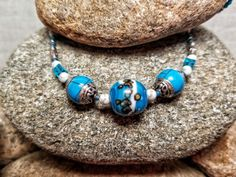 Turquoise, Porcelain, Tibetan Silver, Sterling Silver, White Howlite Turquoise, and Seed Beads / Bohemian Necklace / Silver and Turquoise