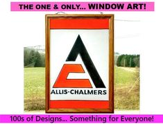 Hand Painted Faux Stained Glass, Allis Chalmers Sun Catcher, Farm Tractor Window Art, Farmhouse Deco