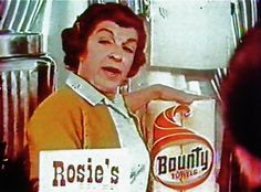 "1960s Bounty Paper Towel with NANCY WALKER. Vintage Commercial, ""Bounty, the quicker picker-upper"""
