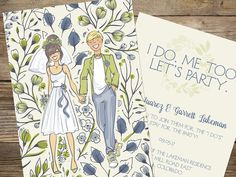 Wedding invitation design. Printed on the Natural paper.