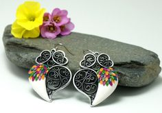Viana heart floral colorful earrings valentine by Fankikas on Etsy