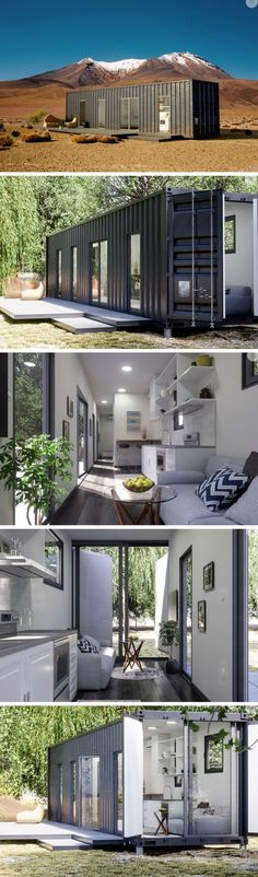 """LUCKDROPS STUDIO+ TINY CONTAINER HOME Stated to be """"a 'pretty' tough home,"""" Luckdrops introduces their state-of-the-art well-engineered homes designed from strong tiny container home. Shipping Container Home Designs, Container House Design, Tiny House Design, Shipping Containers, Shed Roof Design, Flat Roof Design, Sea Container Homes, Tiny House Cabin, Tiny House Living"""