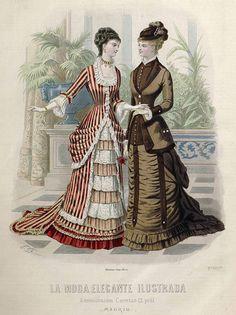 1878. La moda elegante ilustrada. Trajes de soiree y de visita.