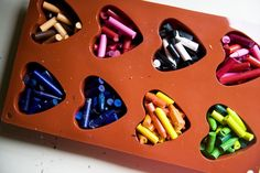 how to make heart-shaped crayons on a rainy day