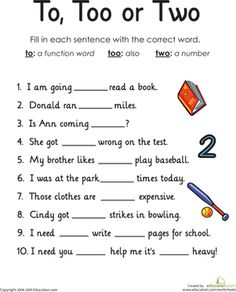 Homophones: To, Too or Two Looking for a worksheet to help your child with homophones? This printable focuses on the difference between the words to, too and two. First Grade Worksheets, Writing Worksheets, Kids Worksheets, Teaching Writing, Writing Skills, Teaching English, English Grammar, Writing Prompts, Learn English