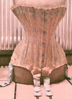 Authentic Edwardian 1900 blue-printed cotton corset