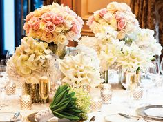 Ivory and blush-colored centerpiece created by Jeff Leatham, artistic director at @Four Seasons Hotel George V Paris