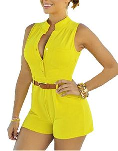 6b35291bfa86 Pamelas Women s Summer Sexy Casual Tunic Pure Color Button Pockets Round  Neck Sleeveless Short Jumpsuits Playsuit