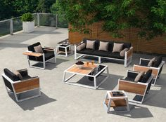 York A Mix Of Black Textilene, Teak And White Coating Color Makes The York  Collection Very Outstanding. The Design Is Almost Similar To An Indoor  Furniture ...