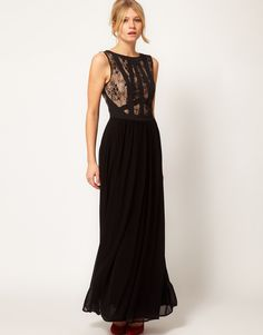 Lace and Panel Maxi Dress - Lyst