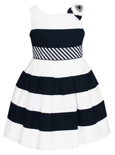 A navy striped girls dress from Anavini takes girls classic sailor dresses to a new level. Perfect as a photo outfit for little girls, Easter dress, special occasion dress or girl's wedding dress this navy striped nautical dress for little girls. Made of a wonderful cotton pique this dress is heirloom quality!