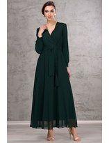 İroni Kadın Zümrüt Uzun Şifon Elbise