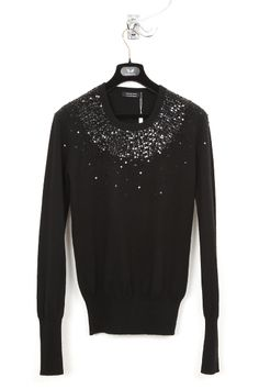 UNCONDITIONAL / UNCONDITIONAL BLACK AND BLACK BEADS ROUND NECK JUMPER.