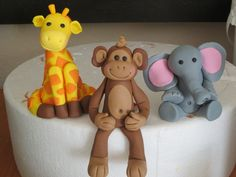Cute Little Animal Toppers - Fondant Giraffe, Elephant and Monkey
