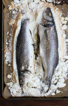 Salt Baked Branzino Bass - simple/yummy recipe 2 whole & cleaned branzino at 1 – 1 1/4 lbs each 1 3lb box of kosher salt 8 egg whites 1 lemon thyme