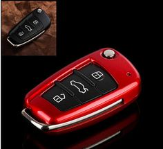 Metallic Paint Red Shell Cover Holder For Audi TT A3 A4 A6 Q7 R8 RS4 Remote Key #Budgettank