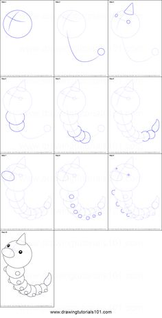 How to Draw Weedle from Pokemon printable step by step drawing sheet : DrawingTutorials101.com