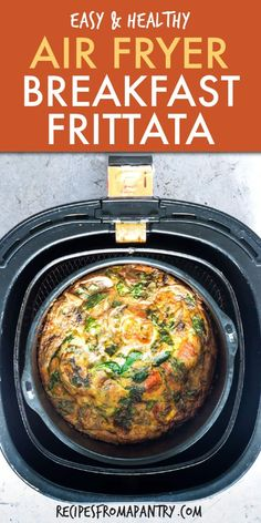 Air Fryer Breakfast Frittata is a quick, easy and protein-packed dish that comes together in just minutes. Perfect for busy weekday breakfasts, satisfying lunches, and even serving up as brinner! Click through to get this awesome recipe! Air Fryer Recipes Low Carb, Air Fryer Recipes Breakfast, Air Fryer Dinner Recipes, Best Breakfast Recipes, Low Carb Recipes, Healthy Recipes, Breakfast Dishes, Fish Recipes, Salad Recipes