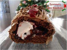 ΣΥΝΤΑΓΕΣ ΤΗΣ ΚΑΡΔΙΑΣ: Χριστουγεννιάτικος κορμός Black Forest Christmas Cooking, Christmas Time, Black Forest, Pie, Sweets, Desserts, Food, Torte, Tailgate Desserts