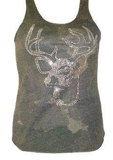 Deer Head Rhinestone Camo Tank